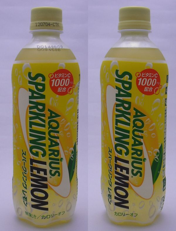 アクエリアス スパークリングレモン 500mlペットボトル(2012/06現在)